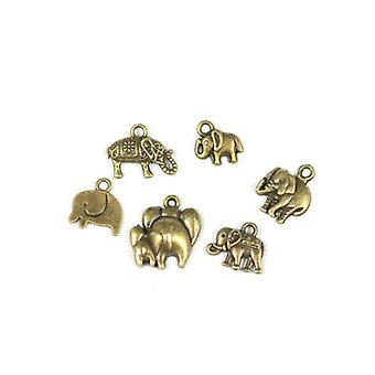 Packet 6 x Steampunk Bronze Tibetan 11-18mm Elephant 1 Charm/Pendant Set ZX16840