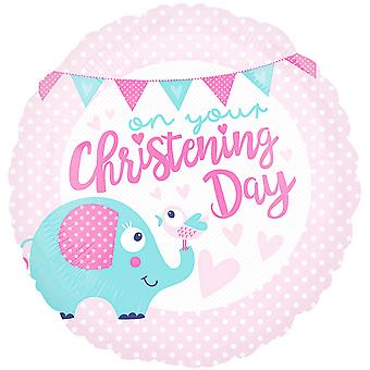 Anagram 18 Inch Christening Day Pink Circle Foil Balloon