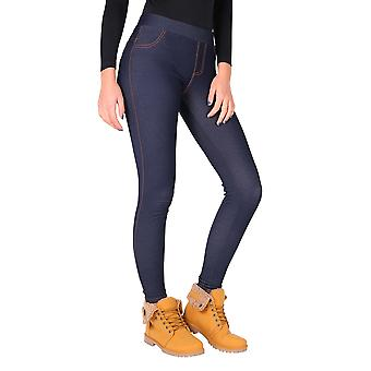 KRISP  Womens Warm Fleece Lined Stretch Denim Jeans Thermal Leggings Jeggings Trousers