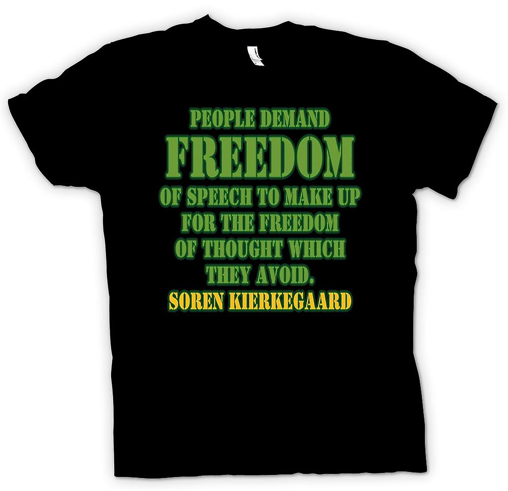 Kids T-shirt - People Demand Freedom Of Speech - Soren Kierkegaard