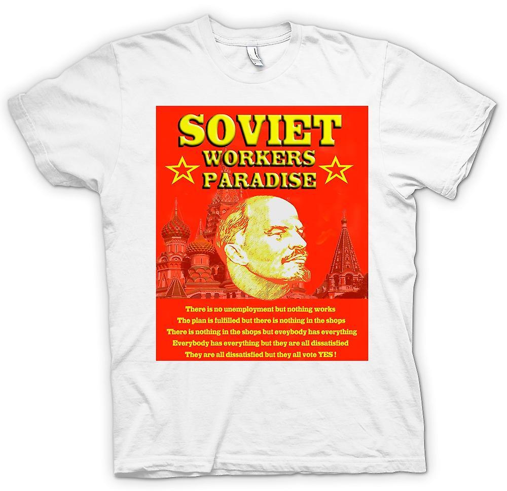 Heren T-shirt - Lenin - Sovjet-Unie werknemers paradijs