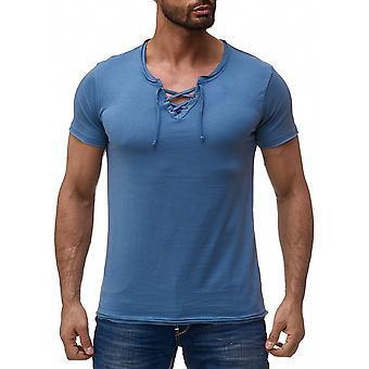 Mens T-Shirt Unisex V-Neck Polo Club Wear Cord Short Sleeved Vintage