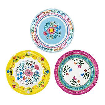 Talking Tables Boho MIX Floral 9 Inch Round Plates 12PK, Paper, Multi-Colour, 2.5 x 22.7 x 22.7 cm