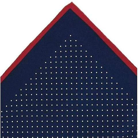 Michelsons of London Pin Dot with Border Silk Handkerchief - Navy/Red
