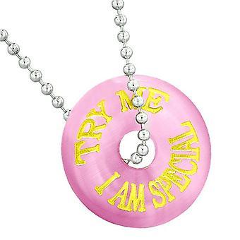 Inspiration zu versuchen mir besonderen Spaß Amulett Glücksbringer Donut Pink simuliert Katzen Auge Halskette