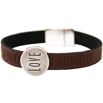 Gemshine Damen Armband Love Liebe WISHES Grau Anthrazit Magnetverschluss