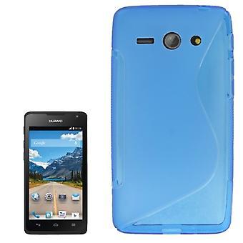 Téléphone portable Etui de silicone (courbe en S) pour le téléphone mobile Huawei Ascend Y530 Blau transparent