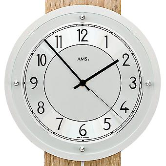 AMS module 5214 noch or wall clock radio radio controlled wall clock with pendulum silver wood Sonoma optics pendulum clock