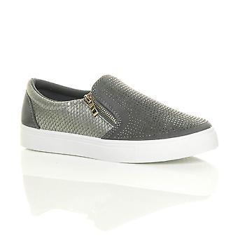 Ajvani womens flat gold zips diamante croc slip on casual plimsolls trainers skate shoes