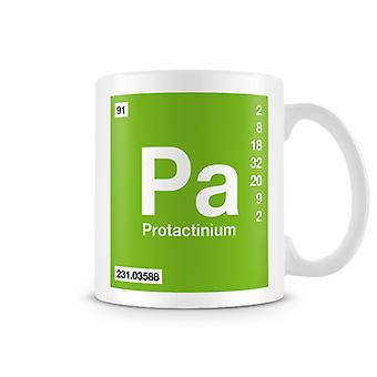 Mug imprimé scientifique, mettant en vedette élément symbole 091 Pa - Protactinium