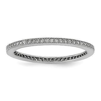 Sterling Silver Pave rodium-klädd och Cubic Zirconia lysande glöd Ring - Ring storlek: 6 till 8
