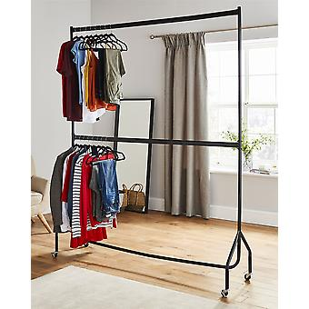 6ft long x 7ft Two Tier Heavy Duty Clothes Rail Garment Hanging Rack In Black