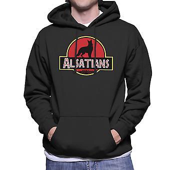Alsatian Dog Jurassic Park Mix Men's Hooded Sweatshirt