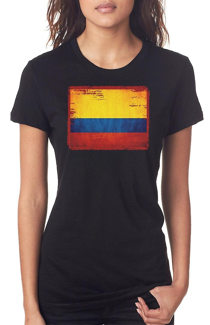 Columbian Columbia Grunge Flag Ladies T Shirt