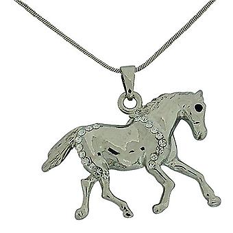 The Olivia Collection Silvertone Glass Set Horse Pendant 18
