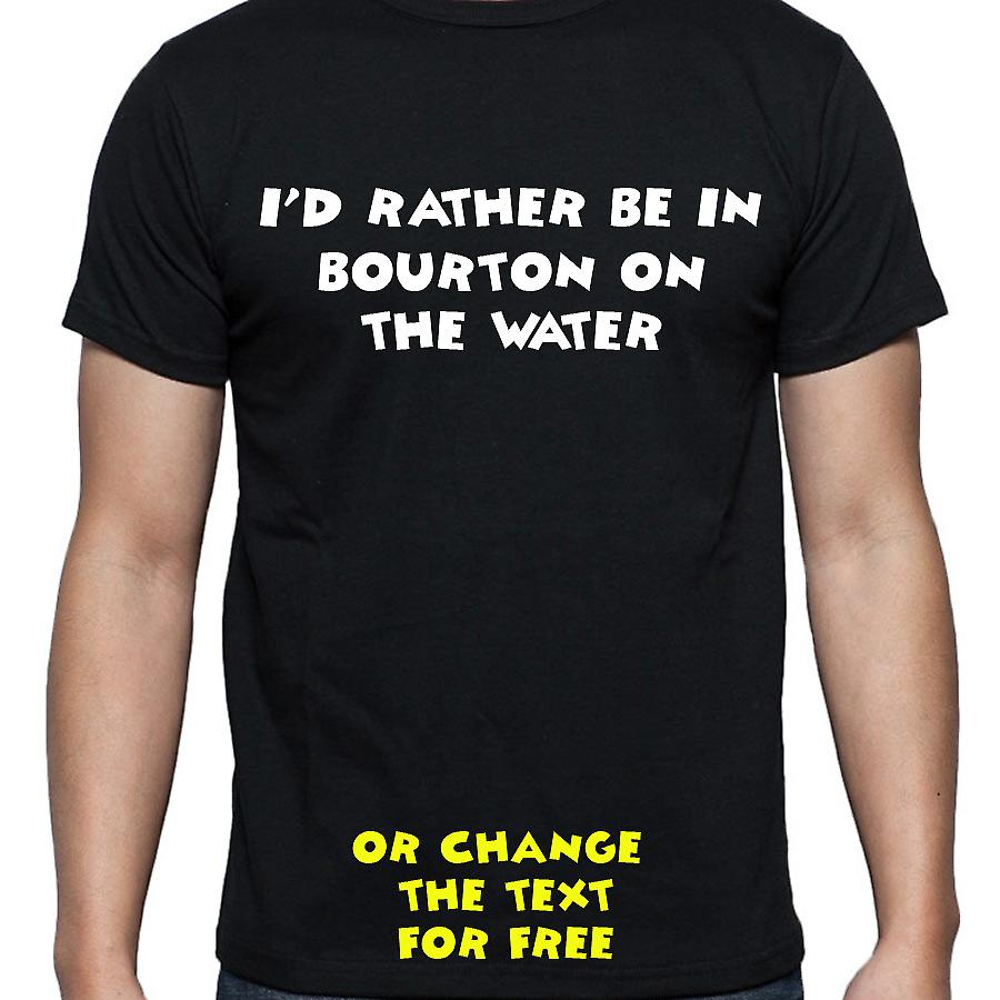 I'd Rather Be In Bourton on the water Black Hand Printed T shirt