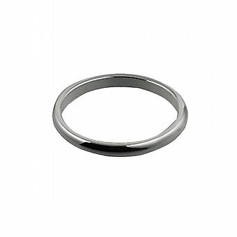 9ct White Gold 2mm plain D shaped Wedding Ring Size I