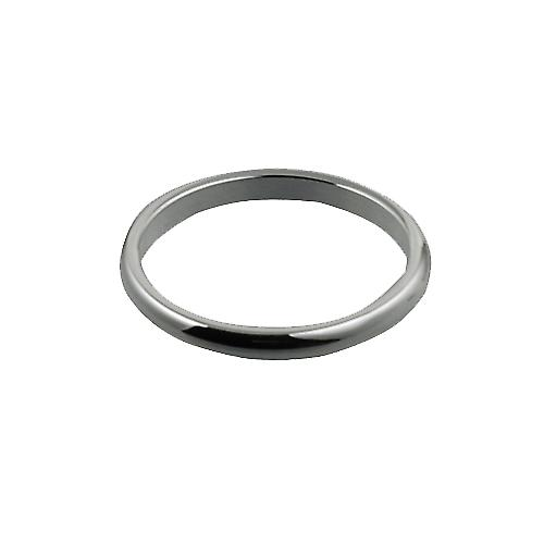 9ct White Gold 2mm plain D shaped Wedding Ring Size P