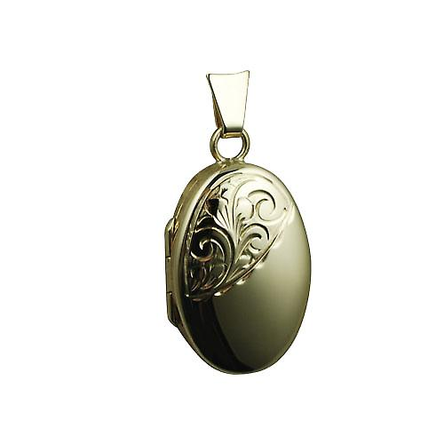 9ct Gold 22x15mm half hand engraved oval Locket