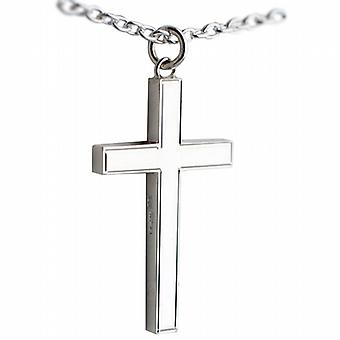 Silver 40x25mm engine turned line border solid block Cross with a cable Chain 24 inches