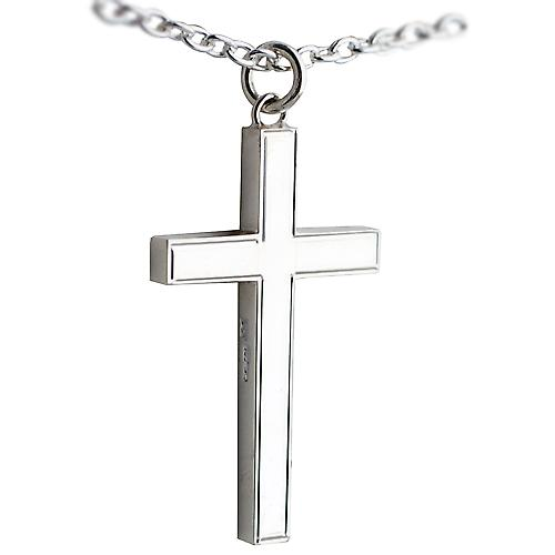Silver 45x25mm line border block Cross with Cable link chain