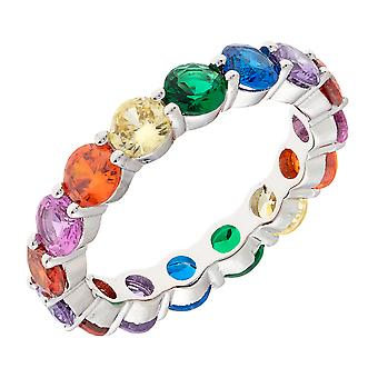 Bertha Juliet Collection Women's 18k WG Plated Stackable Rainbow Eternity Fashion Ring Size 9