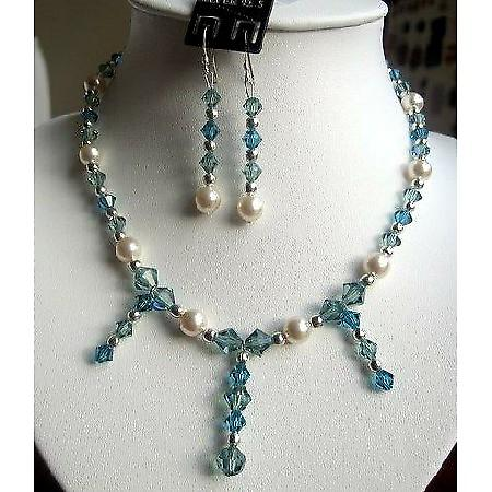 Swarovski Aquamarine Crystals & cream Pearls Necklace Set