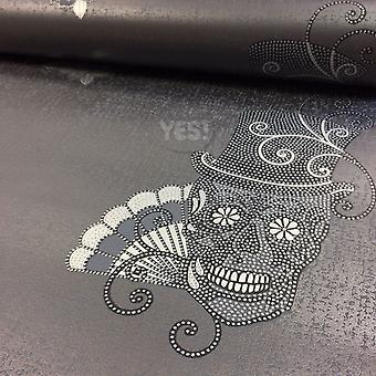 Skulls Wallpaper Glitter Effect Sparkle Metallic Textured Vinyl Rasch