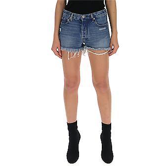 Wollweiße blaue Baumwoll-Shorts