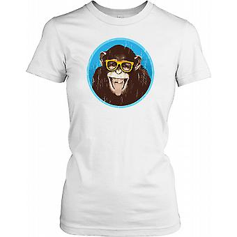 Monkey With Glasses And Smiling - Funny Ladies T Shirt