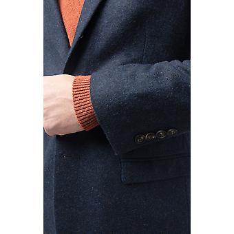 Dobell Mens Marine Donegal Tweed-Jacke passen regelmäßige Kerbe Revers