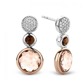 Earrings Ti Sento 7779TP - money 2 stones pink and Brown earrings
