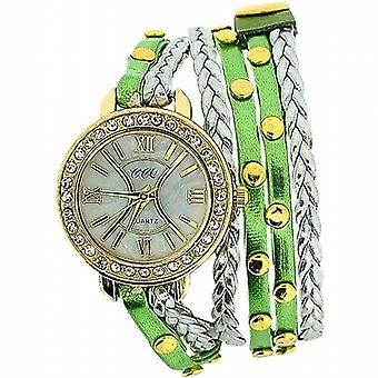 TOC Ladies Extra Long Green Metallic  Silver Plaited Stud Strap Watch SW1097