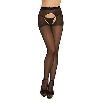 Womens Sexy Sheer Black Crotchless Pantyhose Hosiery Stockings Tights- 2 pack