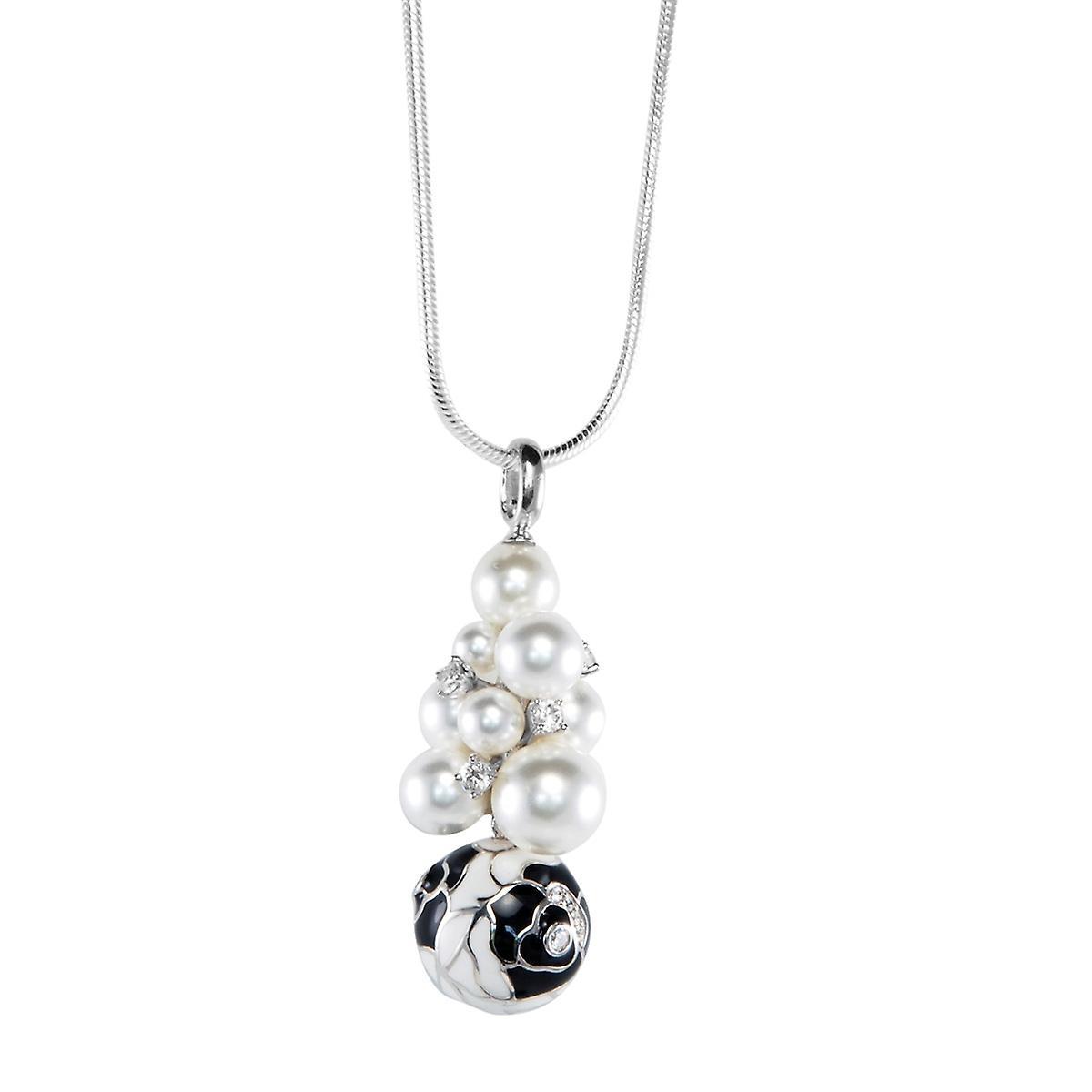 Belle Etoile Botanique noir Seashell Pearl Pendant