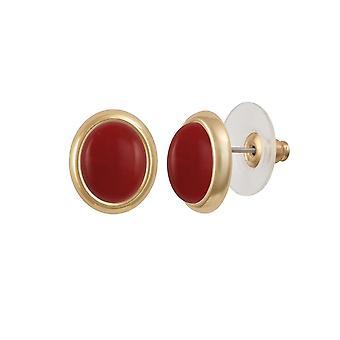 Eternal Collection Minuet Red Quartz Gold Tone Stud Pierced Earrings
