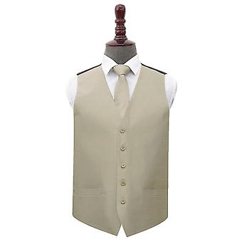 Taupe Shantung Wedding Waistcoat & Tie Set