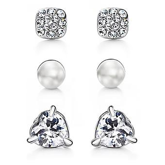 Platinum Plated 3 Unique Pairs Of Stud Earrings