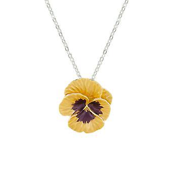 Ewige Sammlung Stiefmütterchen Perfektion gelb Emaille Silber Ton Blumenanhänger