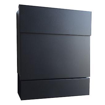 Letterman 5 Radius Design Briefkasten mit Zeitungsfach schwarz (RAL 9005), verdecktes Schloss, moderner Wand-Postkasten