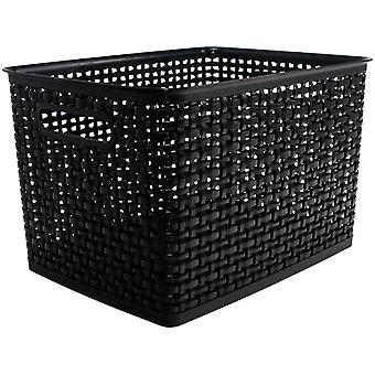 Weave Design Plastic Bin Large-Black, 13.75