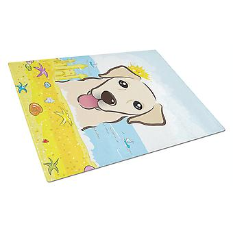Golden Retriever Summer Beach Glass Cutting Board Large BB2120LCB