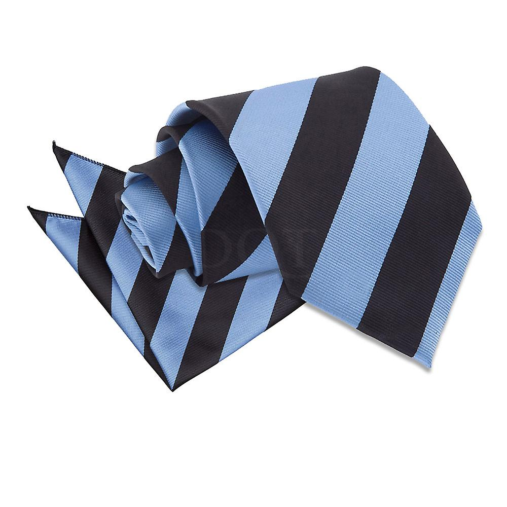 Baby Blue & Black Striped Tie and Pocket Square Set