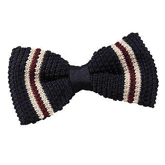 Knitted Navy with Burgundy & Cream Thin Stripe Bow Tie
