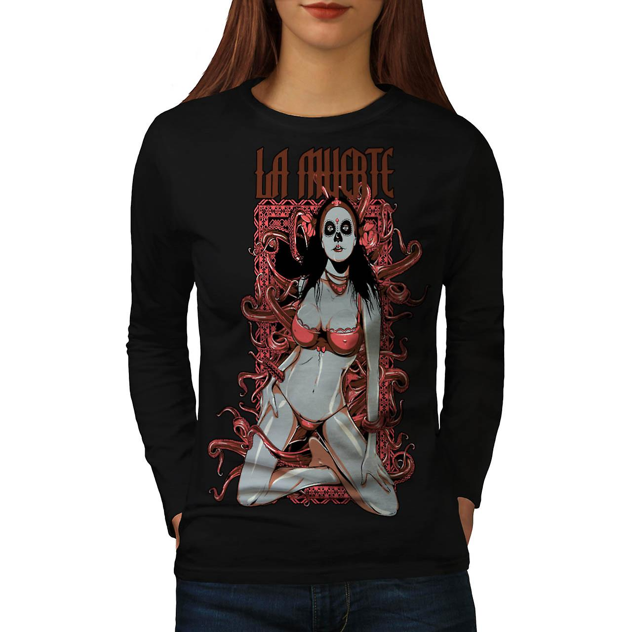 Death Horror Model Seduction Bra Women Black Long Sleeve T-shirt | Wellcoda