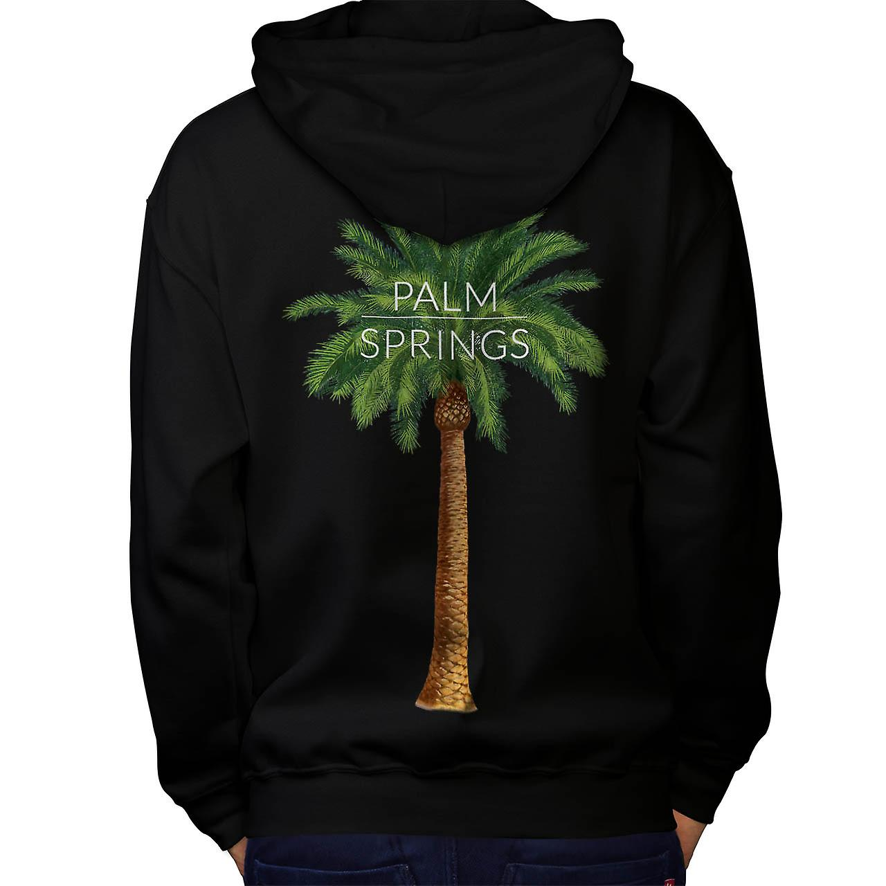 Palm Springs Holiday Summer Fun Men Black Hoodie Back | Wellcoda