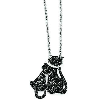 Sterling Silver CZ and Rhodium Cats 18 Inch Necklace - 18 Inch