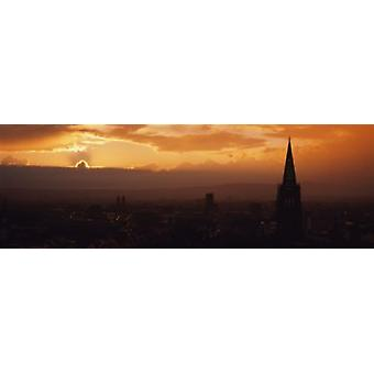 High section view of a building at dusk Freiburg Germany Poster Print