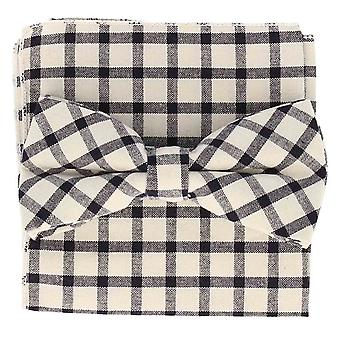 Snobbop set-bound bow tie & handkerchief Navy white checkered cotton