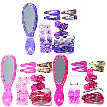 Barbie Hair Fashion Accessory Set Including Mirror, Bobbles and Clips